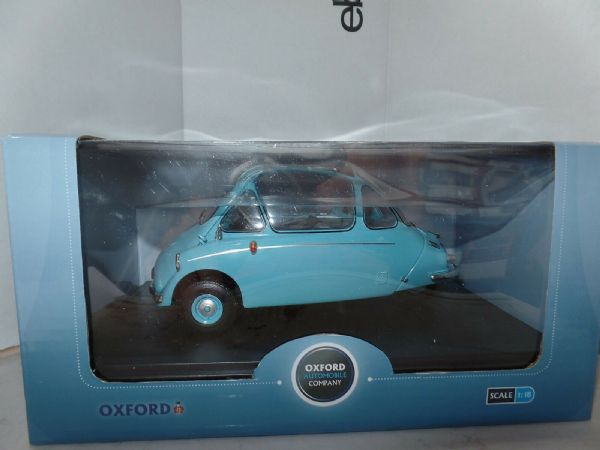 Oxford 18HE001 HE001 1/18 Scale  Heinkel Trojan Bubble Car RHD Roman Blue